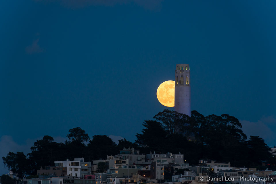 Rising Full Moon and Coit Tower II