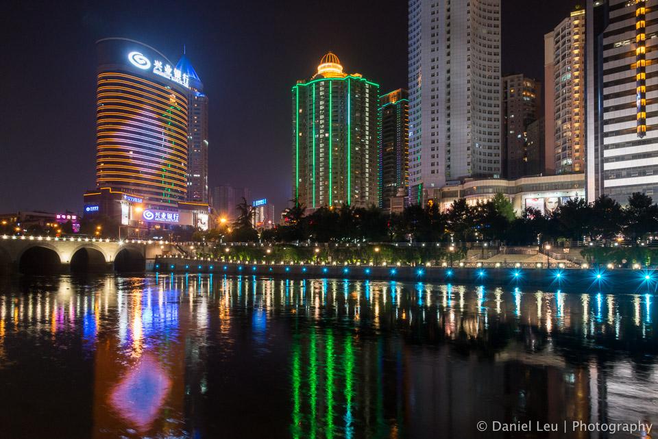 Guiyang Skyline and the Nanming River at Night