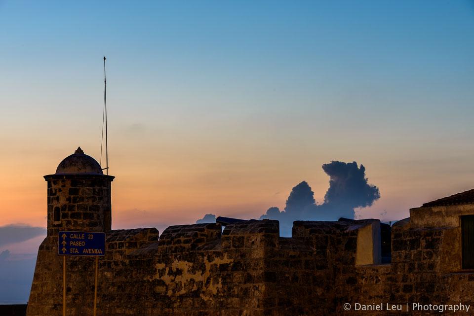 The famous dragon of Havana hiding behind Castillo de San Salvador de la Punta.
