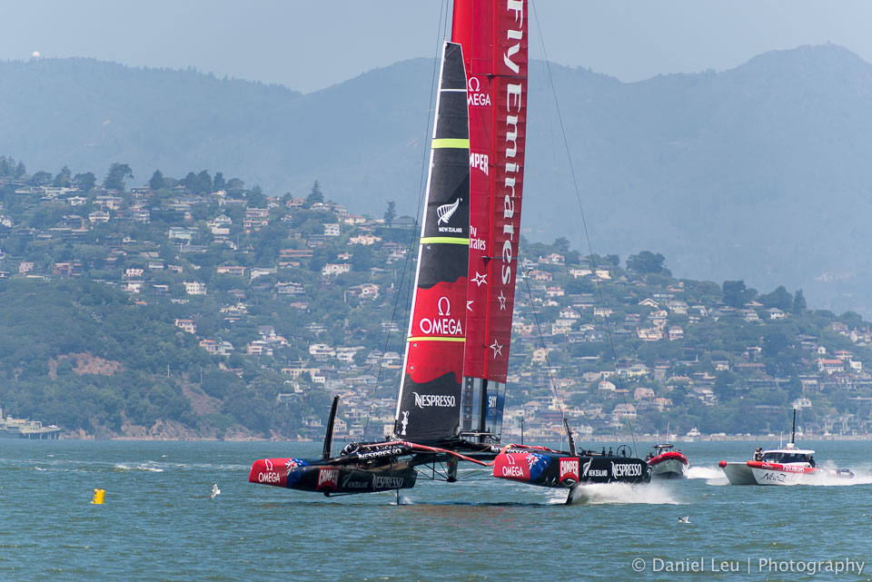 America's Cup training session with Emirates Team New Zealand in the San Francisco bay.