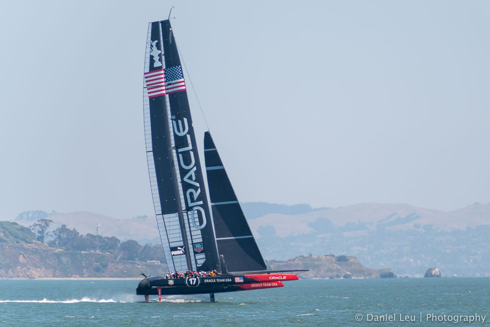 America's Cup training session with Oracle Team USA in the San Francisco bay.