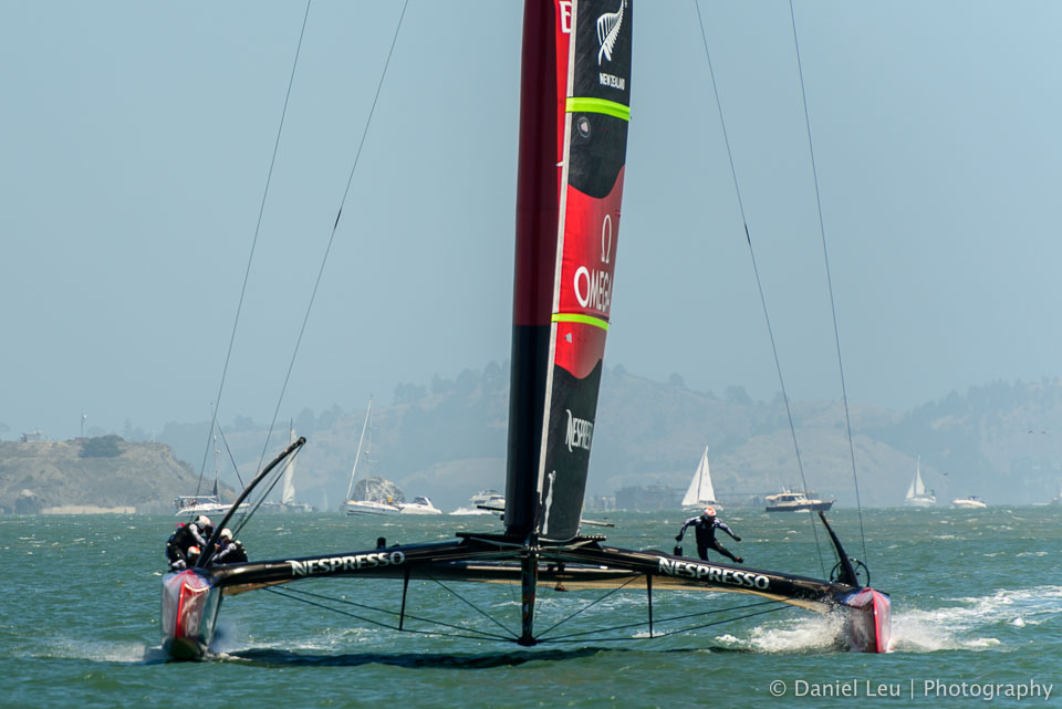 Frontal view of Emirates Team New Zealand's AC72