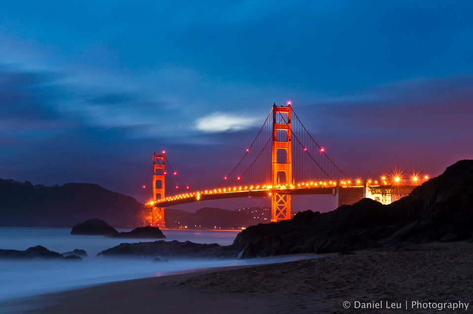 Golden Gate Bridge at Dusk. This is picture was taken from Baker Beach in San Francisco.