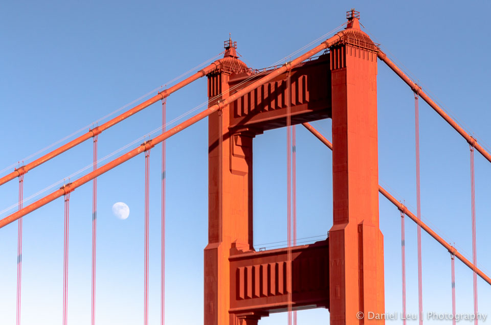Golden Gate Bridge with the moon