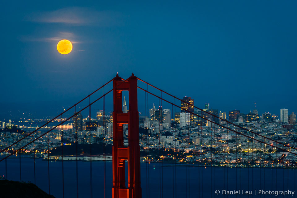 San Francisco, Golden Gate Bridge and the Full Moon