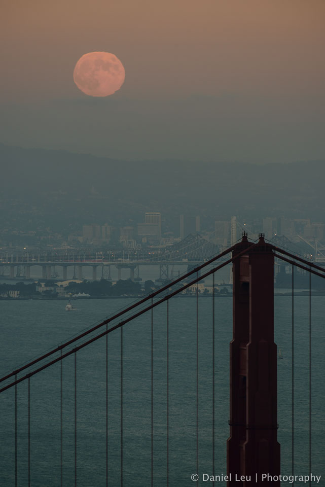 Super Harvest Moon over Golden Gate Bridge Tower