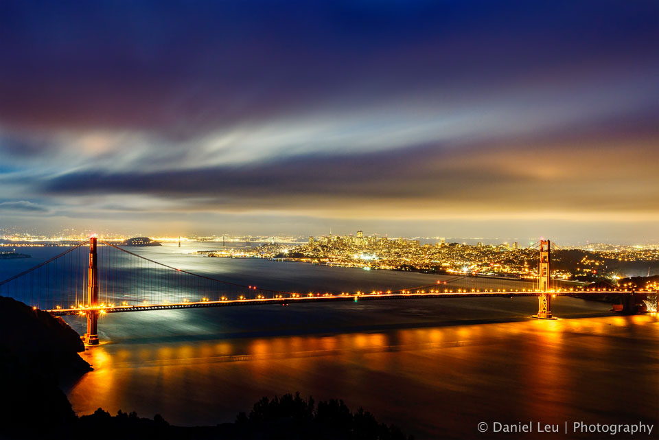 Golden Gate Bridge with Backlit Clouds
