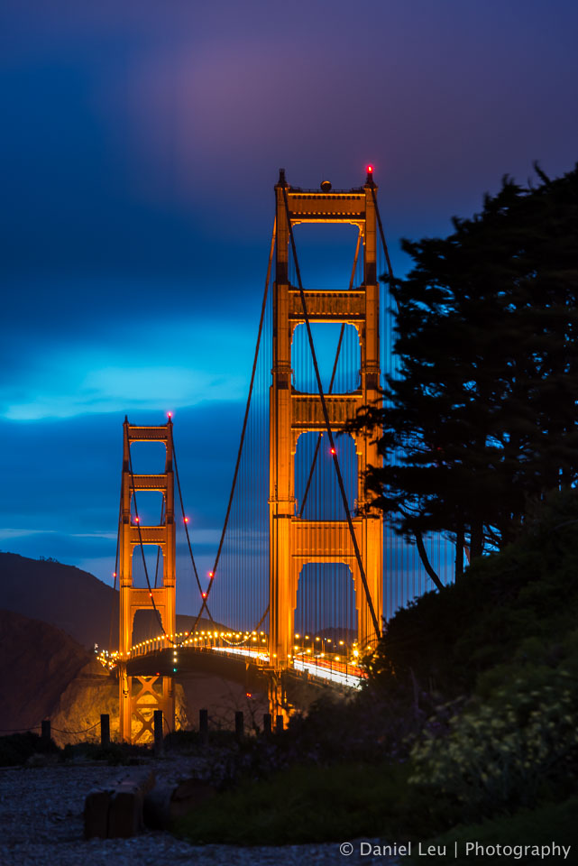 Golden Gate Bridge with Illuminated Clouds