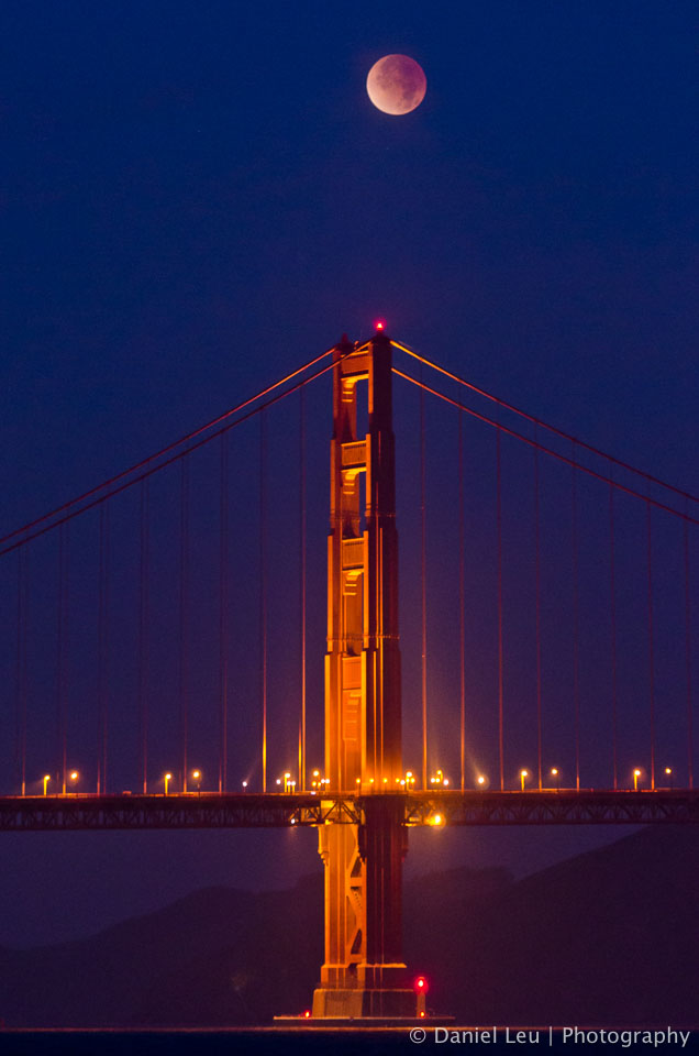 Lunar Eclipse over Golden Gate Bridge
