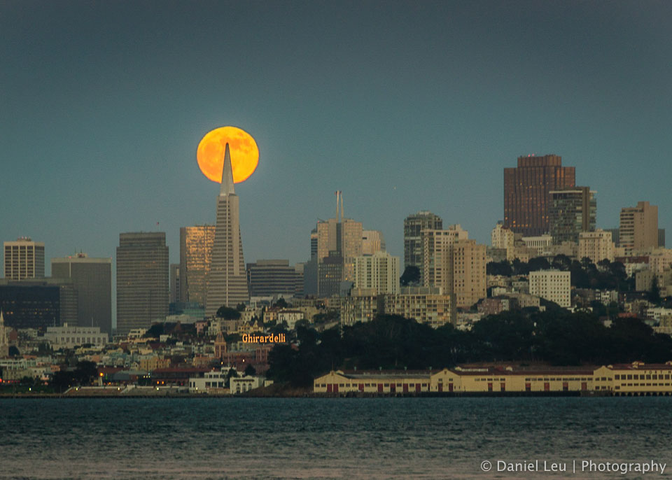 Full moon behind Transamerica Tower