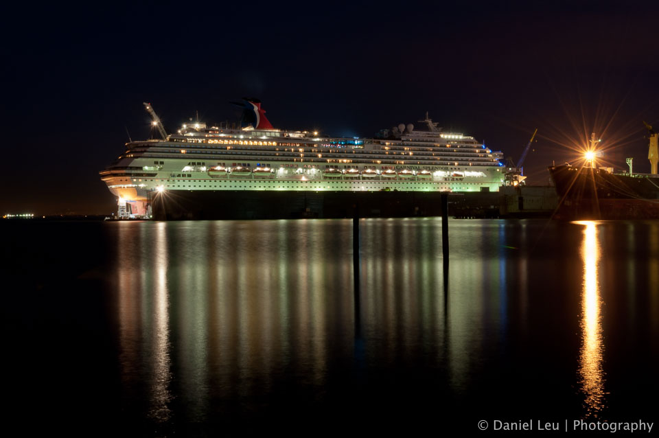 Carnival Splendor at night