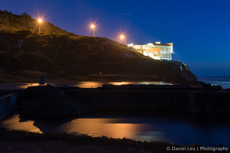 Sutro baths with Cliff House at night