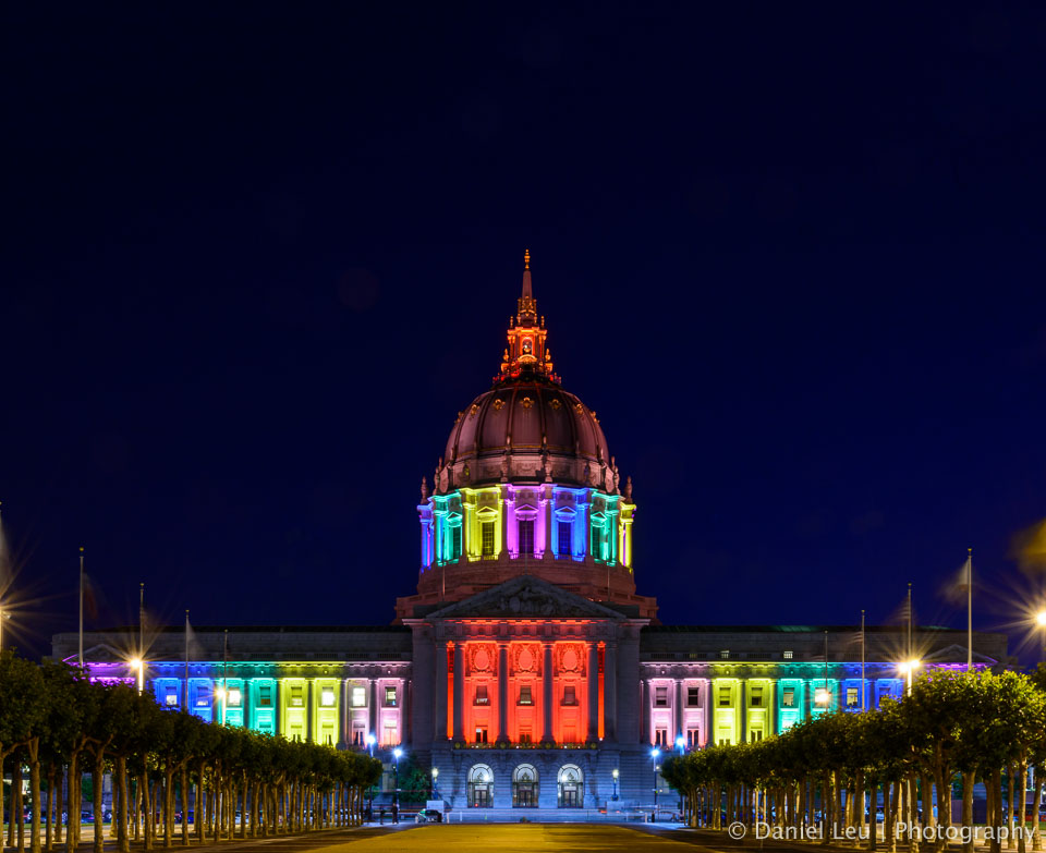 City Hall shines in rainbow colors