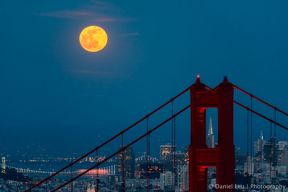 Golden Gate Bridge framing Transamerica with Full Moon