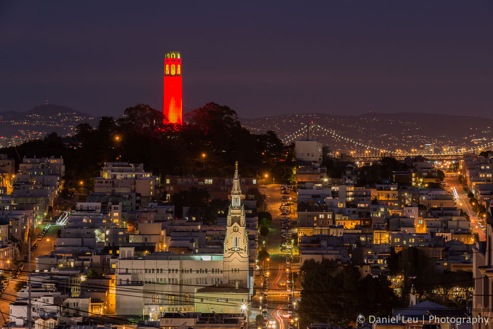 Coit Tower in red celebrating the 49ers post season run