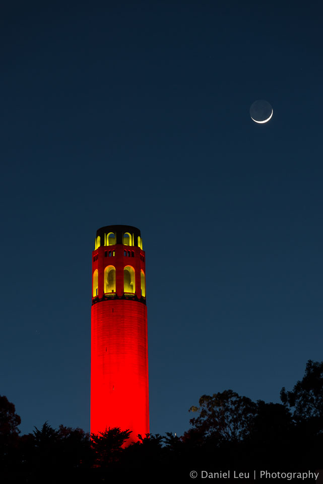 Coit Tower in red and moon crescent celebrating the 49er's post season run