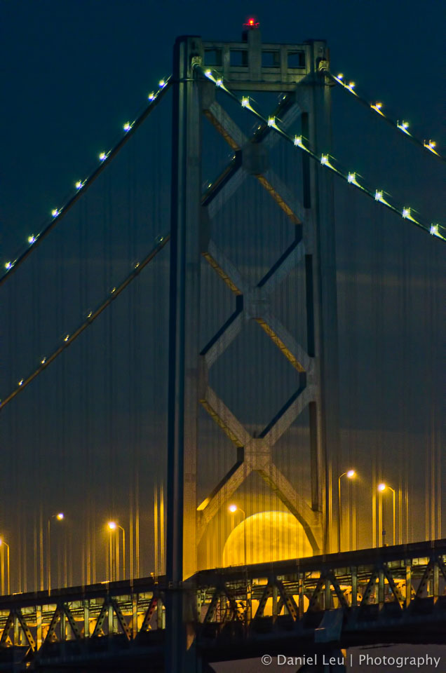 Rising Full Moon Behind Bay Bridge