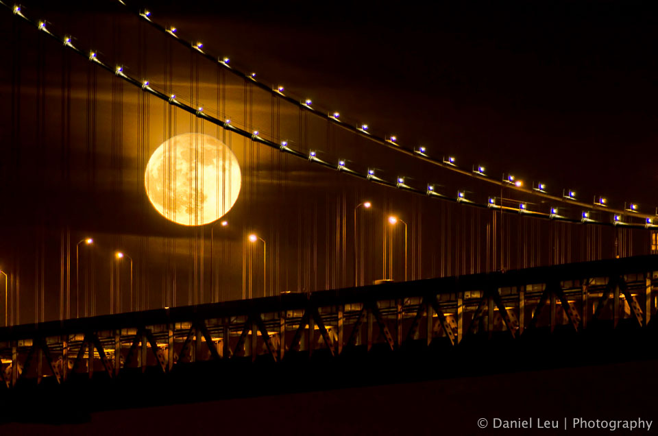 Full Moon Behind Bay Bridge