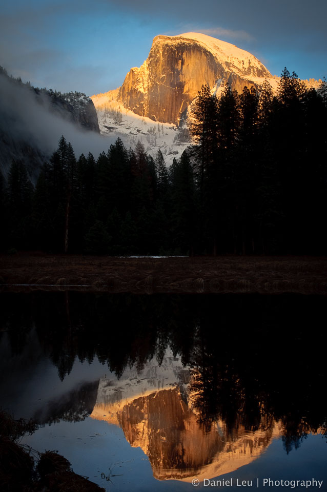 Half Dome with Reflection at Sunset